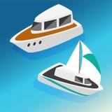 De boten isometrische pictogrammen van schepenjachten geplaatst vectorillustratie Stock Afbeelding