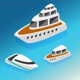 De boten isometrische pictogrammen van schepenjachten geplaatst vectorillustratie Stock Foto