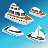 De boten isometrische pictogrammen van schepenjachten geplaatst vectorillustratie Stock Foto's