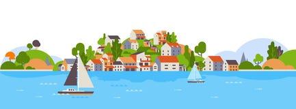 De boten over het eiland van de strandkust huisvest van de de zomervakantie hotels achtergrond van de overzeese jachtkust het con vector illustratie
