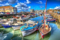 De boten van de havendorset Engeland het UK van de het westenbaai op kalme de zomerdag Stock Fotografie