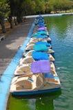 De boten van de pedaalhuur in een stadspark Royalty-vrije Stock Fotografie