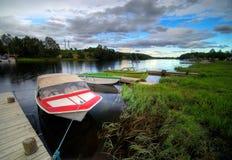 De boten van de rivier in Noorwegen Royalty-vrije Stock Foto