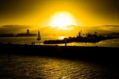 De Boten van San Diego bij Zonsondergang Royalty-vrije Stock Foto