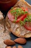 De BoterSandwich van de amandel Stock Foto's