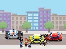 De botsing, de politiewagen en mensen het pixel de stijlillustratie van het kunstspel van de stadsauto Royalty-vrije Stock Afbeeldingen