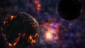 De botsing van twee planeten op de achtergrond van het heelal vector illustratie