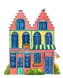 ` De boulangerie de ` de maison d'aquarelle Photos stock