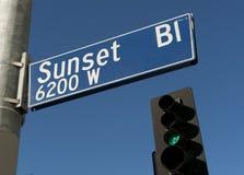 De Boulevard van de zonsondergang stock foto