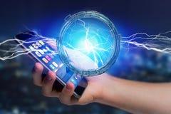 De bout van de donderverlichting in een 3d interface van het science fictionwiel - Stock Afbeeldingen