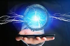 De bout van de donderverlichting in een 3d interface van het science fictionwiel - Stock Afbeelding