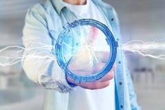 De bout van de donderverlichting in een 3d interface van het science fictionwiel - Stock Foto