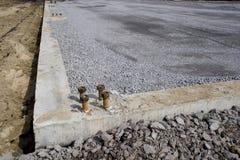 De bouten van het anker op een cement positie Stock Fotografie