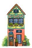 ` De boutique de fleurs de ` de maison d'aquarelle Photographie stock libre de droits