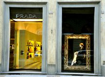 De boutique van Prada Stock Foto