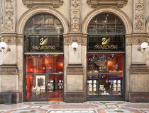 De boutique van Swarovski in Milaan Stock Afbeelding