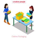 De boutiquewinkel van de klerenmanier het winkelen vlakke isometrische vector 3d stock illustratie