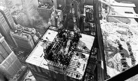 De bouw 1971 van het World Trade Center Stock Fotografie