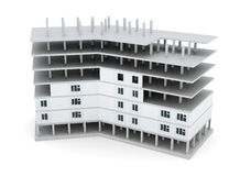 De bouw in aanbouw op witte achtergrond 3d geef image Stock Afbeeldingen