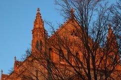 De bouw bij zonsondergang Stock Foto