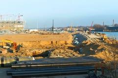 De bouw, bouw, ontwerp, Stadion, rechte stralen, de bouw, complexe sport royalty-vrije stock afbeeldingen