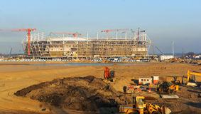 De bouw, bouw, ontwerp, Stadion, rechte stralen, de bouw, complexe sport stock afbeelding