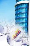 De bouw en blauwdrukken, bedrijfscollage Royalty-vrije Stock Afbeelding