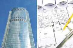 De bouw en blauwdrukken, bedrijfscollage Royalty-vrije Stock Foto