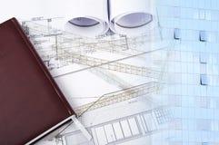 De bouw en blauwdrukken, bedrijfscollage Stock Afbeeldingen