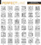 De bouw en bouwsymbolen van het overzichts de miniconcept Van de de hulpmiddelen moderne slag van de huisreparatie lineaire gepla vector illustratie
