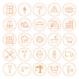 De Bouw en de Bouw Geplaatste Pictogrammen van de lijncirkel Stock Foto