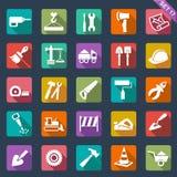De bouw en hulpmiddelenpictogrammen royalty-vrije illustratie