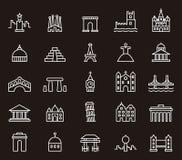 De bouw en monumentenpictogrammen Stock Afbeelding