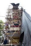 De bouw en verfraaien boden crematietoren in Ubud, Bali voor de Koninklijke Familie Begrafenis 27 Februari 2018 Royalty-vrije Stock Foto's