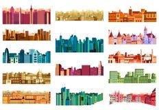 De bouw en wolkenkrabber in cityscape stock illustratie