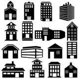 De bouw en Wolkenkrabberpictogram Royalty-vrije Stock Afbeeldingen