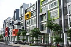 De bouw façade ontwerp met patroon en kleuren Stock Afbeelding