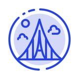 De bouw, Bouw, Landgoed, Oriëntatiepunt, de Lijnpictogram van de Martelaren Blauw Gestippelde Lijn vector illustratie