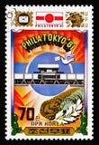 De bouw, medaillon, de Internationale Zegel Exhibi van Philatokyo '81 royalty-vrije stock fotografie