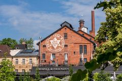 De bouw met baksteenmetselwerk - Bayreuth Maisel & vriendenbrouwerij Royalty-vrije Stock Fotografie