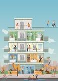 De bouw met beeldverhaal bedrijfsmensen die in bureauwerkruimte werken Stock Foto