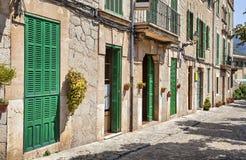De bouw met groene deuren en blinden Stock Afbeeldingen