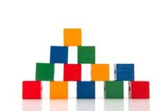 De bouw met kleurrijke blokken Stock Afbeeldingen