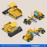 De bouw reed gevolgd: vector vlakke isometrische voertuigen Stock Foto