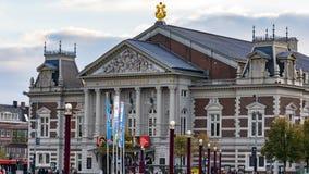De bouw van Amsterdam concertgebouw gezien van het centrale park stock foto's