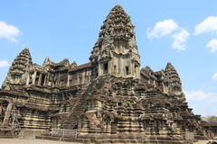 De bouw van Angkor Wat in de ochtend, Kambodja Stock Foto's