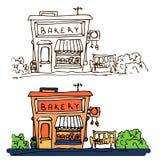 De bouw van de bakkerijwinkel op witte achtergrond wordt ge?soleerd die De hand getrokken vectorillustratie van de krabbelstijl vector illustratie