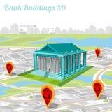 De bouw van bank en de plaats hun in kaart stad brengen Royalty-vrije Stock Fotografie