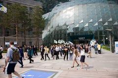 De bouw van beleid van Seoel Mening Seoel, straat de weg op Stadhuis, het samenkomen royalty-vrije stock afbeelding