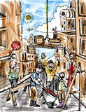 De Bouw van bouwvakkers een Stad Royalty-vrije Stock Afbeeldingen